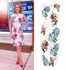 New Phase Eight Hydrangea Celeb White Floral Cotton Pencil Dress Size 12 Holiday