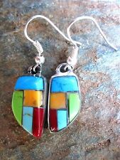 Handcrafted Earrings Stone Inlay Rustic Made in Mexico Fair Trade NEW me039