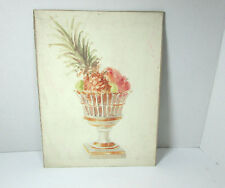 Vintage Painting of Fruit Bowl W/ Exotic Fruits 9 x 12 C. Mid Century