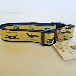 """Dog Collar The Belted Cow Company Size Large Up To 26"""" Nautical Knots Yellow"""