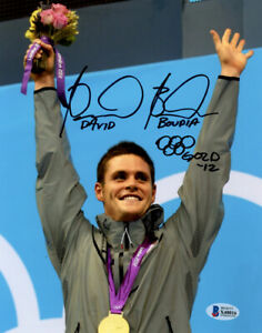 DAVID BOUDIA SIGNED AUTOGRAPHED 8x10 PHOTO OLYMPIC GOLD SWIMMING BECKETT BAS