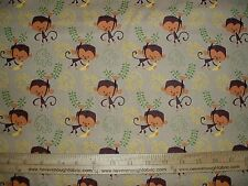 Cotton Fabric Artist of Kolea Monkey and banana on TAN end of bolt 1 3/4 yards