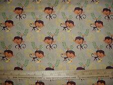 Cotton Fabric Artist of Kolea Monkey and banana on TAN end of bolt 1 3/4 yards