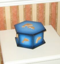 Wood Wooden Dolphin Hexagonal Decorative Box Blue Painted Storage Trinket Gift