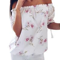 Women Cold Shoulder Blouse Long Sleeves Loose Floral Print Fashion Shirt Top