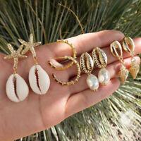 4Pairs/Set Bohemia Women Shell Conch Statement Earrings Drop Dangle Earrings ML