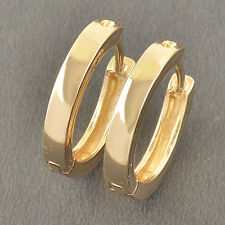 17mm Simple 9K Solid Gold Filled Womens Smooth Hoop Earrings,Z5316