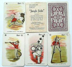 ANTIQUE PLAYING CARDS THOMAS DE LA RUE JUNGLE JINKS 1905 48 CARDS + RULES & BOX