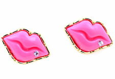 and a crystal stud earrings Chunk sexy lip with gold outline
