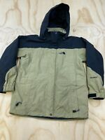 THE NORTH FACE WOMEN SIZE MEDIUM FULL ZIP HOODED BEIGE AND BLACK JACKET EUC