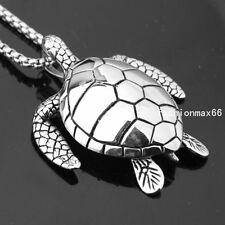 Stainless Steel Mens Charm Trendy Silver Tone Sea Turtle Pendant Free Box Chain