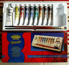 Vintage WINSOR & NEWTON Winton Oil Colour STUDIO SET in Box Oil Paints 2 Brushes