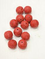 Red Chinese Cinnabar Pentagon Shaped Beads Loose