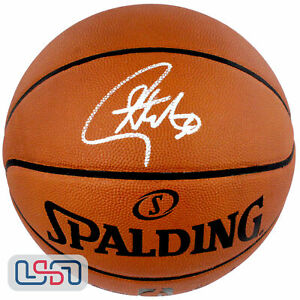 Stephen Curry Warriors Autographed Authentic NBA Spalding Basketball USA SM Auth