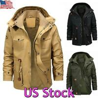 US Men's Winter Warm Fur Lined Jacket Thick Hooded Coat Zip Up Military Outwear