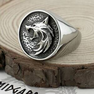 Witcher Wolf Medallion Ring Stainless Steel Mens Jewellery UK Seller