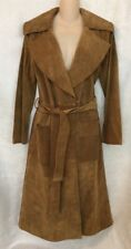 Frame trenchcoat beige suede leather wrap three-quarter length size small