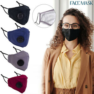 4 LAYERS COTTON FACE MASK WITH FILTER AIR VALVE REUSABLE WASHABLE BREATHABLE
