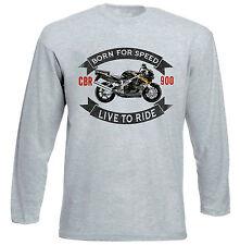 HONDA-CBR900RR-FIREBLADE - 1996-Grigio T-shirt A Maniche Lunghe-Tutte le taglie in magazzino
