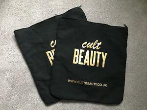 2 x Cult Beauty Large Cotton Black Canvas Zipped Bag perfect toiletries shoes