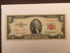 1953A Two Dollar Bill $2 Red Seal Note A 57263615 A