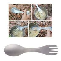 Ultralight Titanium Spoon Fork Spork Outdoor Camping Picnic Tableware 2in1 Tool