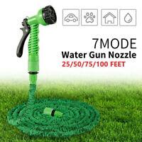 7in1 Garden Water Spray Gun Hose Pipe Expanding Nozzle Flexible 25 50 75 100Ft