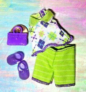 Kelly Small Doll Clothes *Olive Green & Purple Capri Pants Set w/Purse & Shoes*