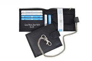 Personalised Engraved Mens Quality Luxury Soft Black Leather Chain Card wallet