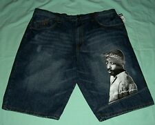 "Makaveli Branded Tupac Denim Men's Shorts 50"" Waist - NWT"