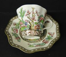 Coalport Indian Tree Demitasse Cup and Saucer Ruffled Edge Antique England