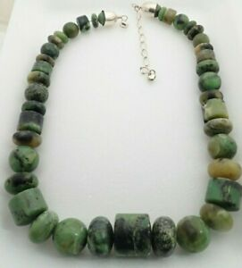 Jay King DTR Mine Finds Green Turquoise Graduated Bead Sterling Silver Necklace