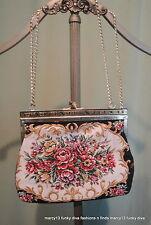 Vintage 60's 70's Romantic Tapestry Fabric Metallic Shoulder Bag Handbag Purse