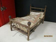 ANTIQUE WOODEN FOUR POSTER RATTAN BED DOLL /TEDDY BEAR CIRCA 1800 CHILD TOY