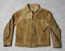 Vintage LEVIS BIG E Black Tab Suede Leather Trucker Jacket Mens Size S 1960's