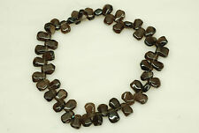 10x14mm Soft Faceted Nugget Shape Smoky Quartz Top Drilled Beads