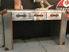 Large Industrial Vintage Style Silver Metal Travel Trunk Desk / Side Table
