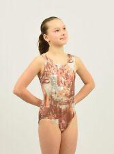 Gymnastics Tank Leotard size Med child or Xsmall adult bronze/silver foil print