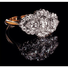 2.24ct Multi-Shape 3-Stone Diamond Cluster Engagement Ring Real 14K Yellow Gold