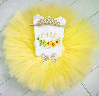 Newborn Toddler Baby Girls My 1st Birthday Romper Shirt+Tulle Tutu Skirts Outfit