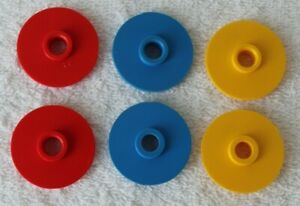 Vintage Ideal Tip-It Game 1986 Set Of 6 Game Discs (2 Red, 2 Blue, 2 Yellow)