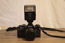 Ricoh XR10 Film Camera Vivitar auto 2600 35mm SLR leather case W/ strap lens cap