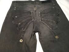 Moschino Jeans Faded Black Capri Cropped Butterfly Jeans Size 44 Fit 10 12