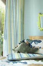 "DINOSAUR STRIPE GREEN BLUE 66X72"" 168X183CM PENCIL PLEAT CURTAINS DRAPES"