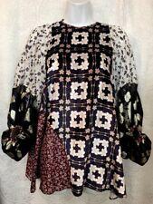 Biyan Blouse Velvet And Silk Print Patchwork Full Sleeve Size Xs NWT