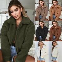 Winter Womens Tops Thick Warm Teddy Bear Lapel Fleece Jacket Coat Zip Up Outwear