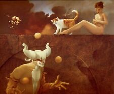 Michael Parkes print THE JUGGLER semi nude woman 1980 surreal fantasy art