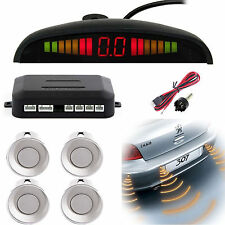 Auto Car Reverse Backup Parking 4 Sensors Sound Alert Alarm Radar Sensor Silver