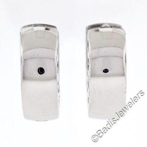 New Italian Simple 14K White Gold Plain Petite Round Hoop Huggie Snap Earrings