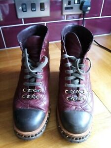 Chanel 38, UK 5 Ankle Boots, Bordeaux in Pelle Quilted LEATHER EUR 38